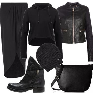 Outfit Aspirante biker, in gonna