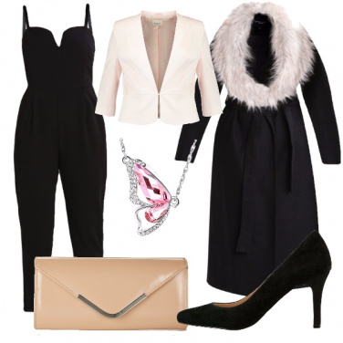 Tuta nera elegante  outfit donna Bon Ton per cerimonia e serata ... f0da6557f6a