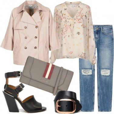 Outfit Trench corto e jeans trendy