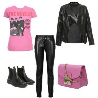 Outfit Pelle e rosa