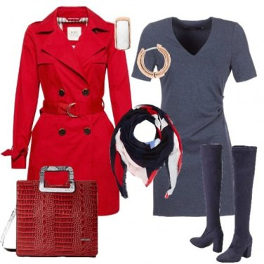 Outfit Trench rosso cuissard blu