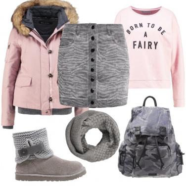Outfit Rosa e grigio casual