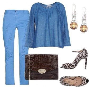 Outfit Blu cielo e cacao