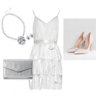 Outfit Bianco e argento