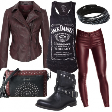 Outfit Rock in bordeaux