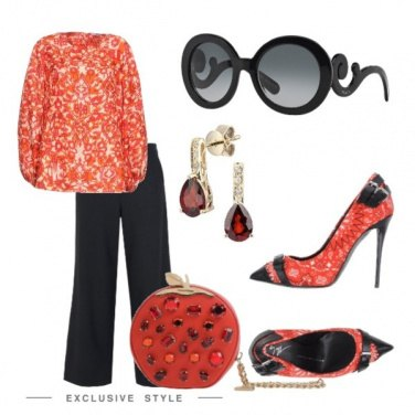 Outfit Fantasia corallo e nero