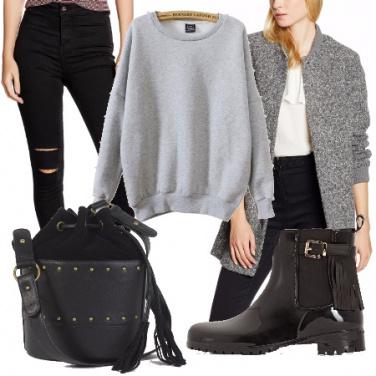 Outfit In città in grigio e nero
