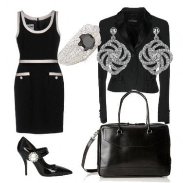 Outfit Back to office in black & strass