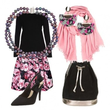 Outfit Back to office with pink flowers