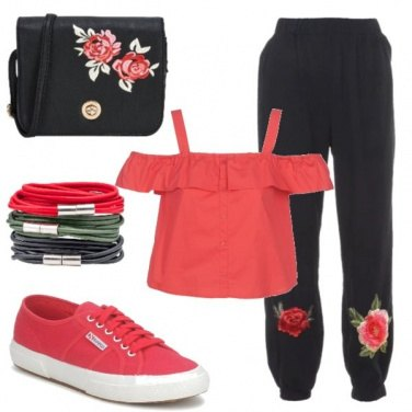 Outfit Black and red roses
