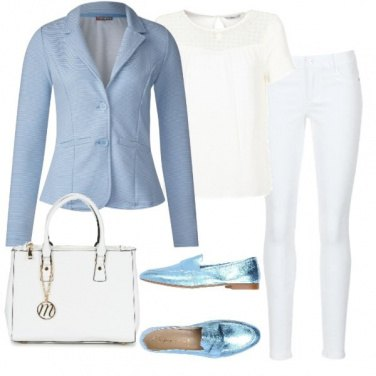 Outfit Bianco e celeste