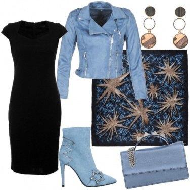 Outfit Il tubino reinventato in azzurro