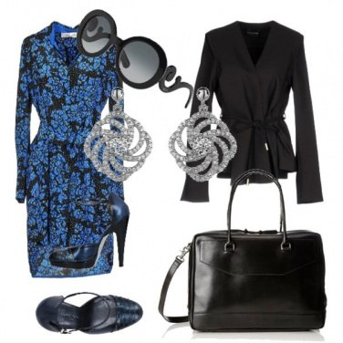 Outfit Back to office with blue flowers