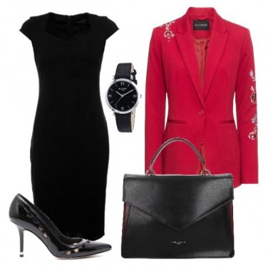 Outfit Tubino nero con giacca ricamata