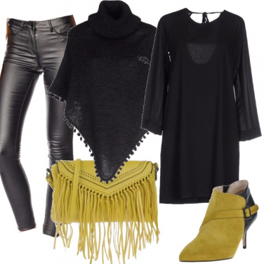 Outfit Lime e pelle nera