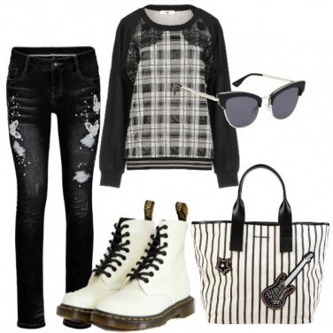 Outfit Bianco e nero da studio