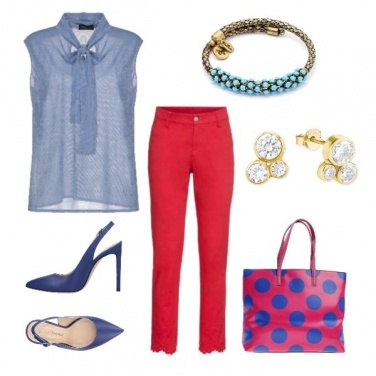 Outfit Back to office in red & blue