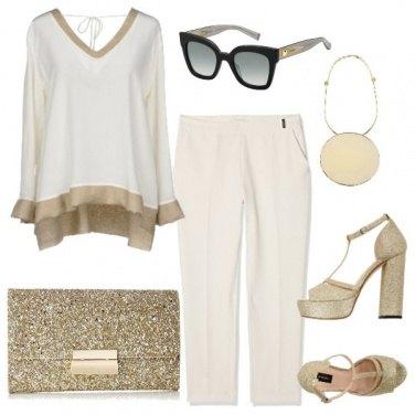 Outfit Bianco e oro