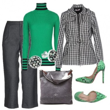 Outfit Verde e metallo