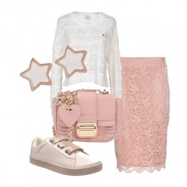 Outfit Maglia e gonna in pizzo