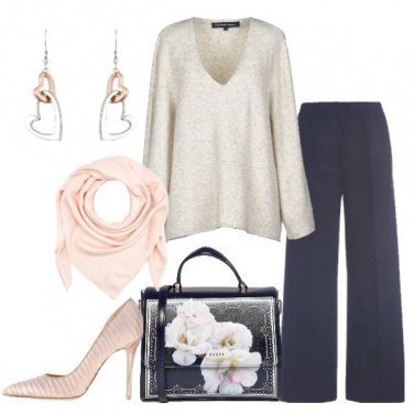 Outfit Pantalone palazzo pullover mélange
