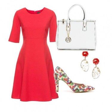 Outfit Rosso e fantasia