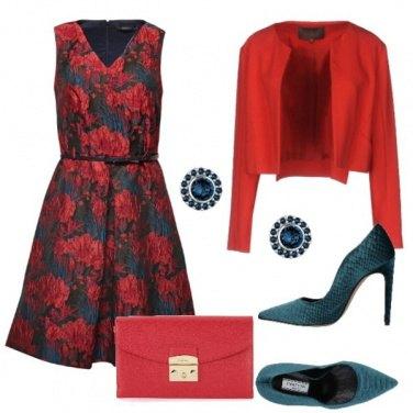 Outfit Rosso e verde petrolio