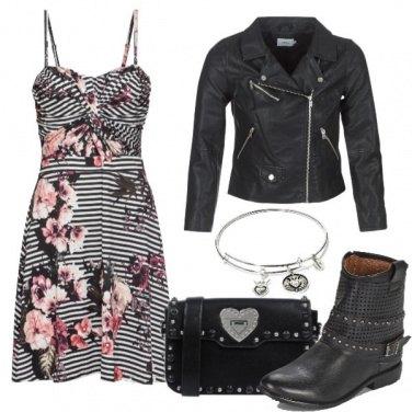Outfit Righe, fiori e biker