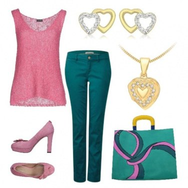 Outfit Back to office in pink & green