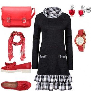 Outfit Quadretti vichy e rosso per illuminare