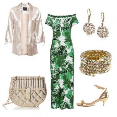Outfit Serata in lungo gold & green