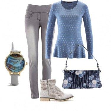 Outfit Azzurro e grigio incontro all\'autunno