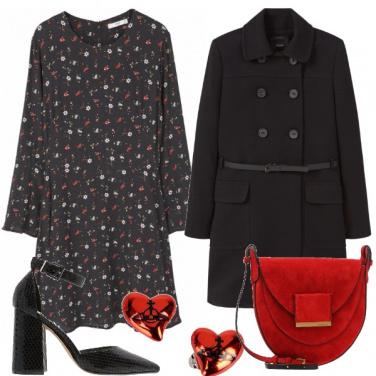 Outfit Romantica in nero e rosso