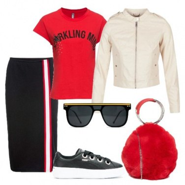 Outfit Gonna in stile college e sneakers