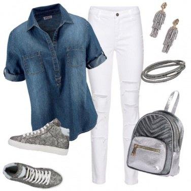 Outfit Argento e camicia di jeans