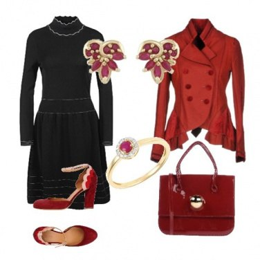 Outfit Bon ton in black, red & gold