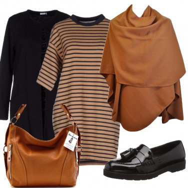 Outfit Righe beige e nere