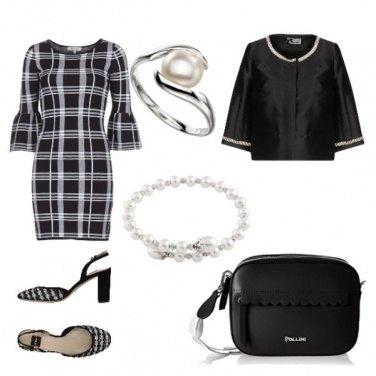 Outfit Bianco nero perle e argento