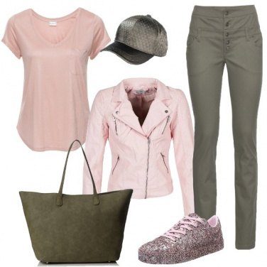 Outfit A scuola in verde e rosa