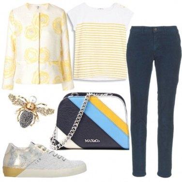 Outfit Giallo e blu, casual con stile