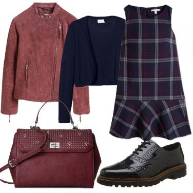 Outfit Quadri e pelle