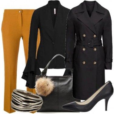 Outfit Nero e cammello