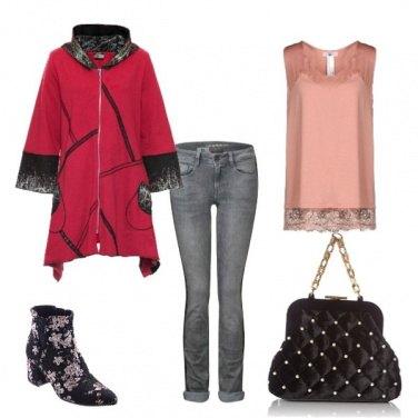 Outfit Felpa cappotto rosso e nero