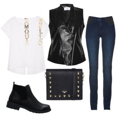 Outfit Gilet leather nero