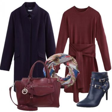 Outfit Blu e burgundy