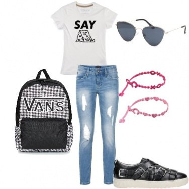 Outfit School with glam