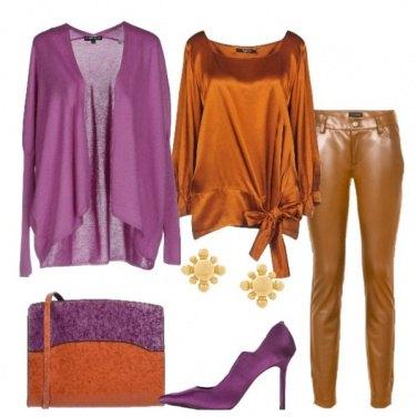 Outfit Viola ruggine cognac