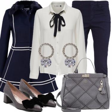 Outfit Bon ton grigio e blu