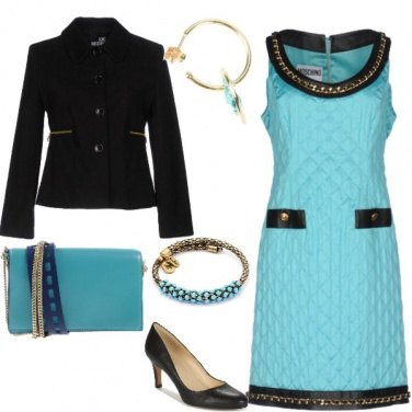 Outfit Matelasse'' turchese e oro