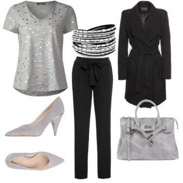 Outfit Silver black